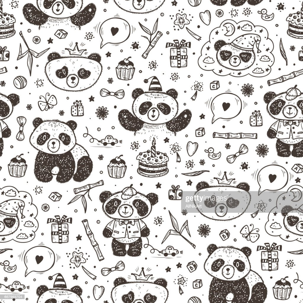 Cute Baby Pandas Vector Seamless pattern. Hand Drawn Doodle Funny Black and White Bamboo Bears. Background for kids.