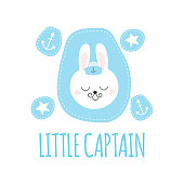 Cute baby pattern with little bunny. Cartoon animal boy print vector. Funny nautical illustration with captain rabbit and anchor patches for children t-shirt, kids birthday party, nursery textile.