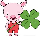 Cute baby pink piggy with a shamrock