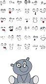 cute baby plush rhino kawaii style cartoon sitting expressions collection set