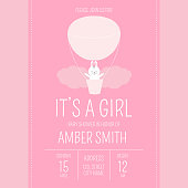 Cute baby shower girl invite card vector template. Cartoon animal illustration. Sweet design with little bunny in air balloon. Adventure kids poster or newborn birthday party invitation background.