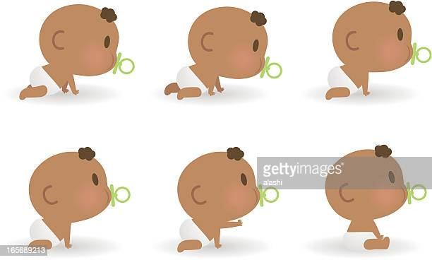 ilustrações, clipart, desenhos animados e ícones de belo bebê com tamanha capacidade para chupeta, agachamento e de estar - engatinhando