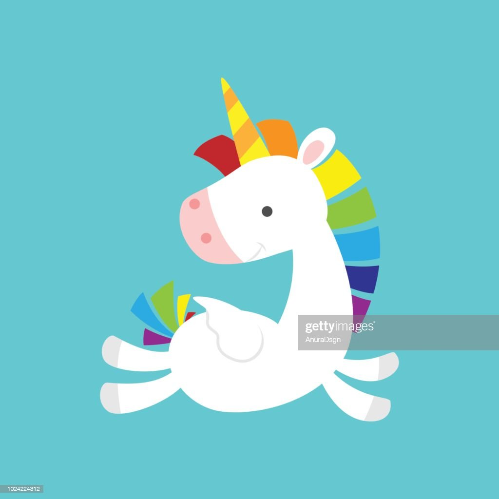 Cute Baby Unicorn flying and looking back