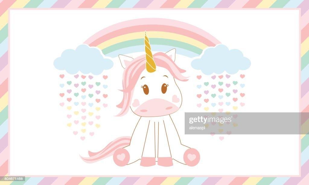 Cute baby unicorn. Vector illustration.