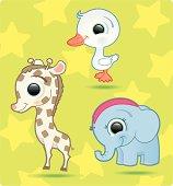 cute baby-animals (gosling, giraffe, elephant).