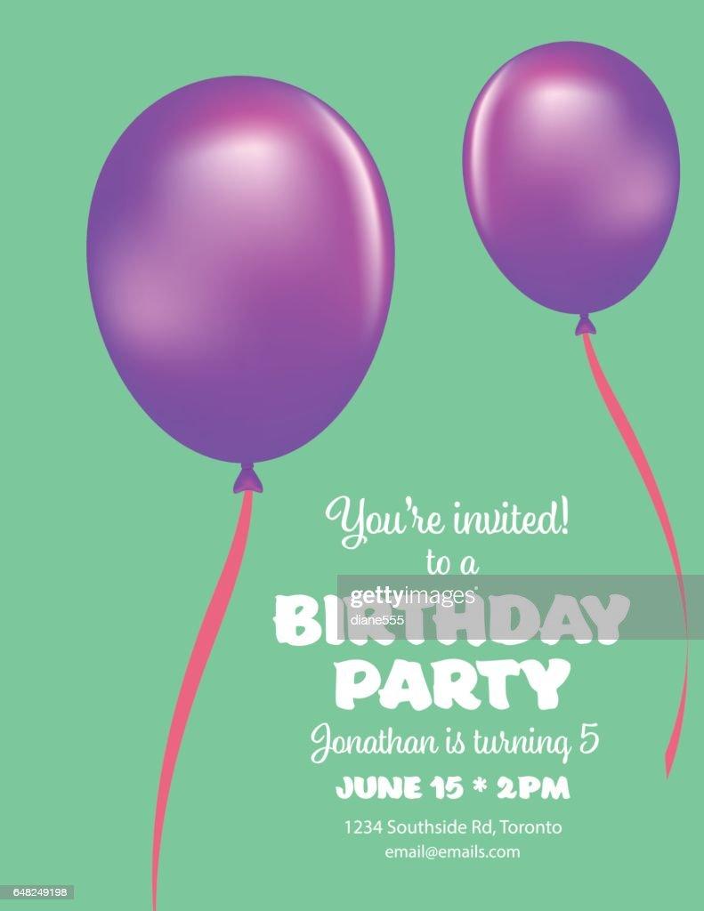 Cute Balloons Birthday Card Stock Vector