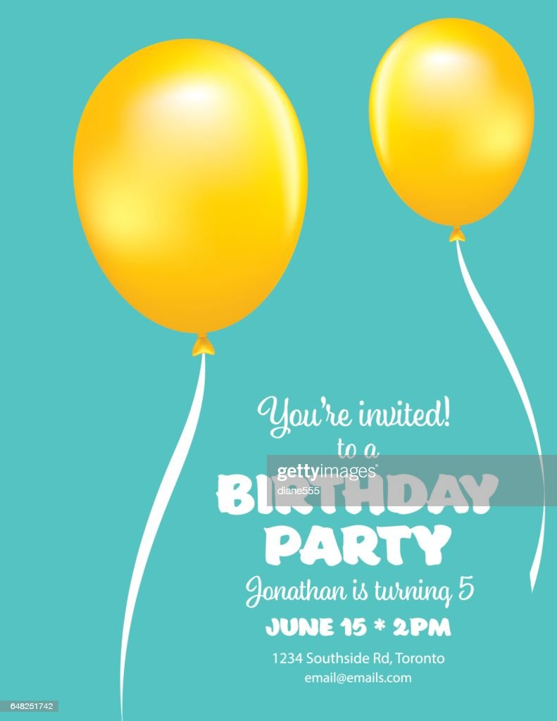 Cute Balloons Birthday Card Clipart Vectoriel Getty Images