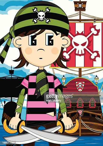 Cute Bandana Pirate with Ship