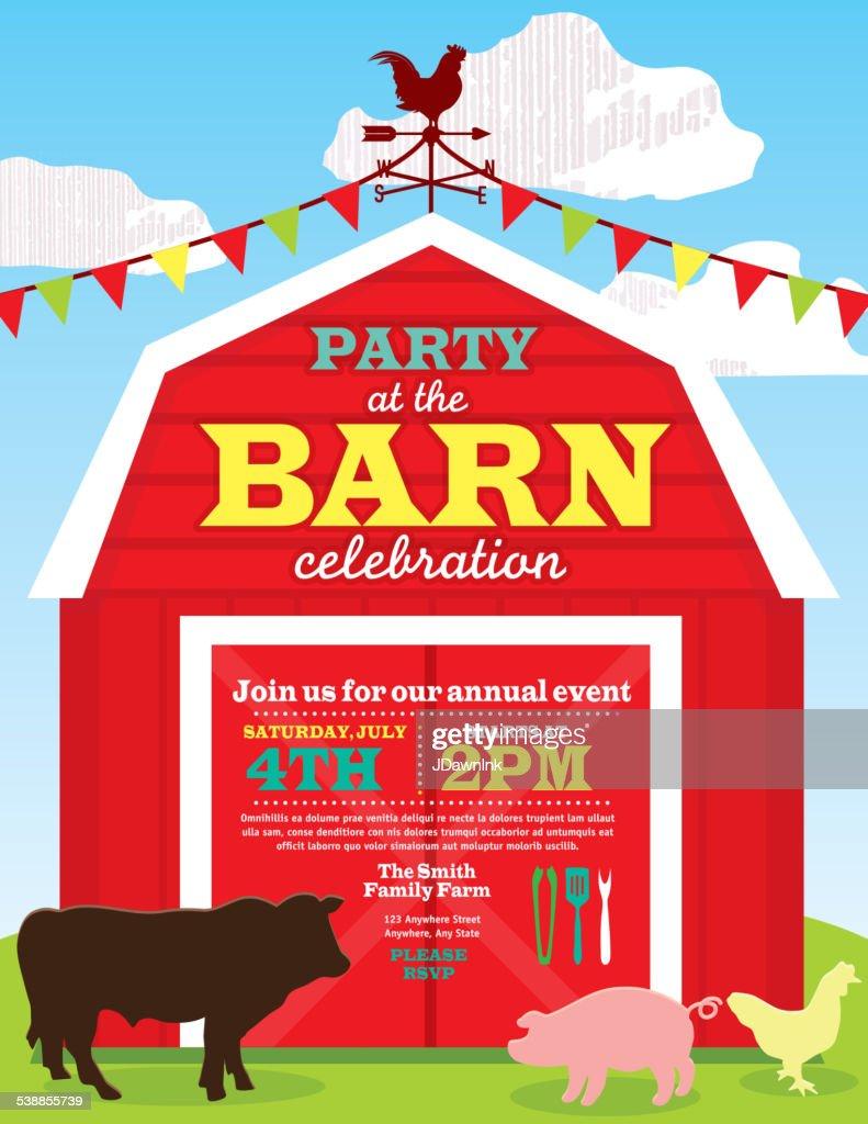 Cute Barn And Farm Animal Party Invitation Design Template Vector ...