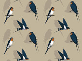 Cute Barn Swallow Front Cartoon Background Seamless Wallpaper