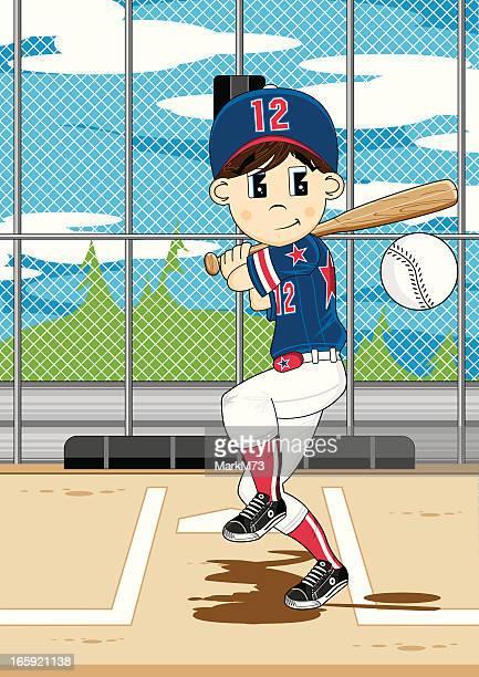 bildbanksillustrationer, clip art samt tecknat material och ikoner med cute baseball boy scene - basebollslag
