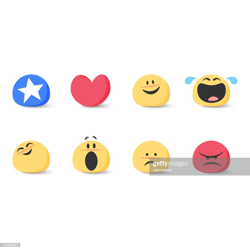 Cute basic emoticons set