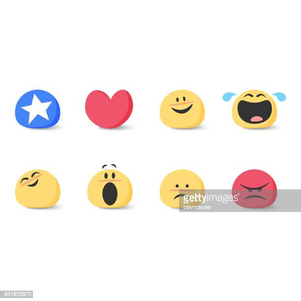 cute basic emoticons set - laughing stock illustrations, clip art, cartoons, & icons