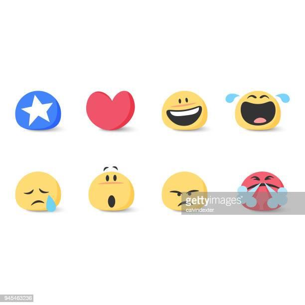 ilustrações de stock, clip art, desenhos animados e ícones de cute basic emoticons set - kawaii