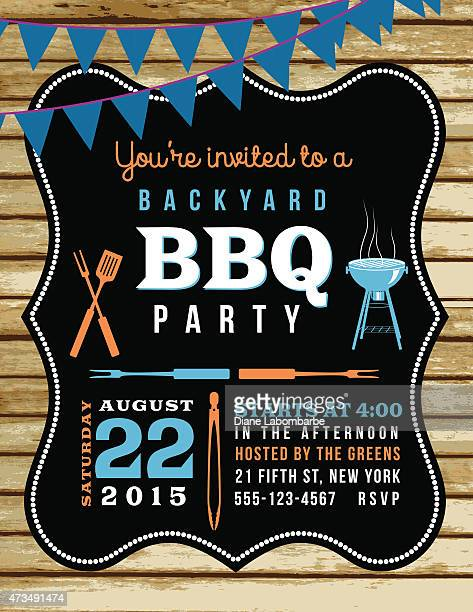 Cute BBQ Invitation Template With Wood Background And Bunting Flags