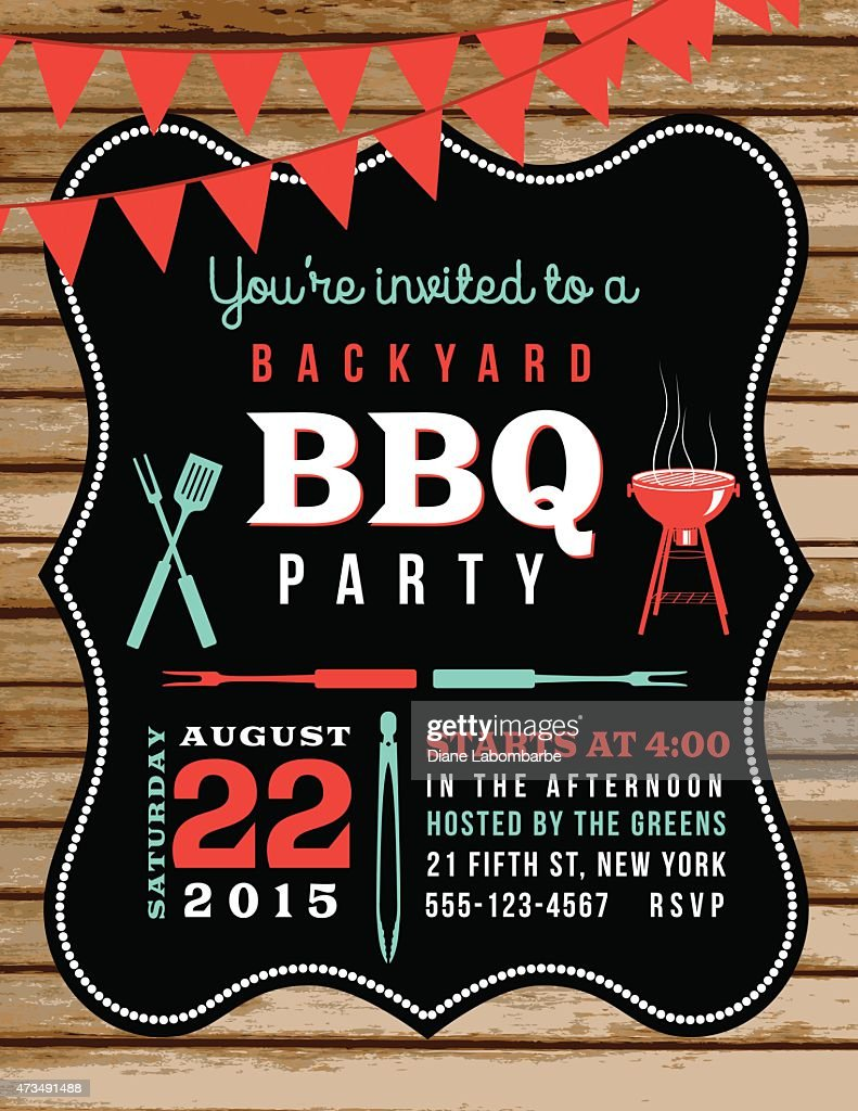 Cute BBQ Invitation Template With Wood Background And Bunting Flags : stock illustration