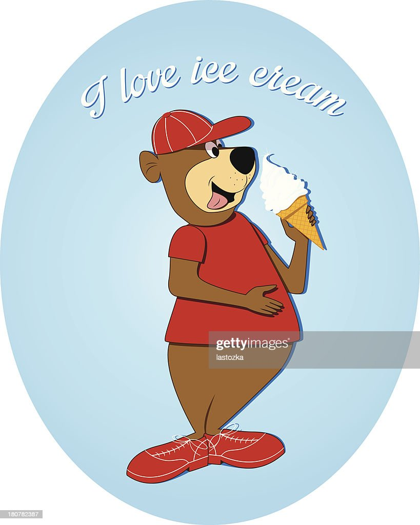 Cute bear character with ice cream