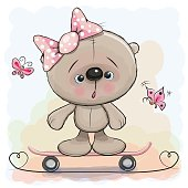 Cute Bear Girl with skateboard
