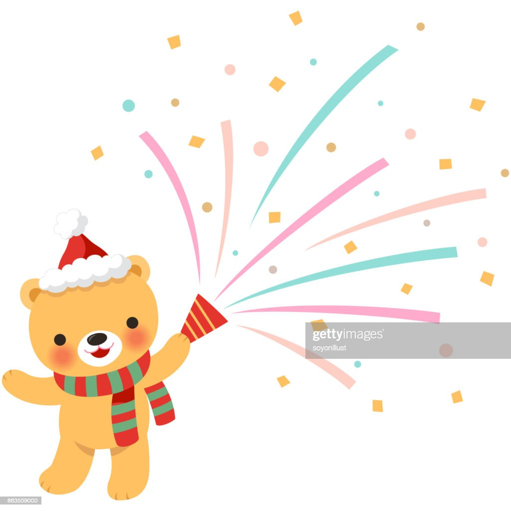 Cute bear holding party popper for Christmas party isolated on white background