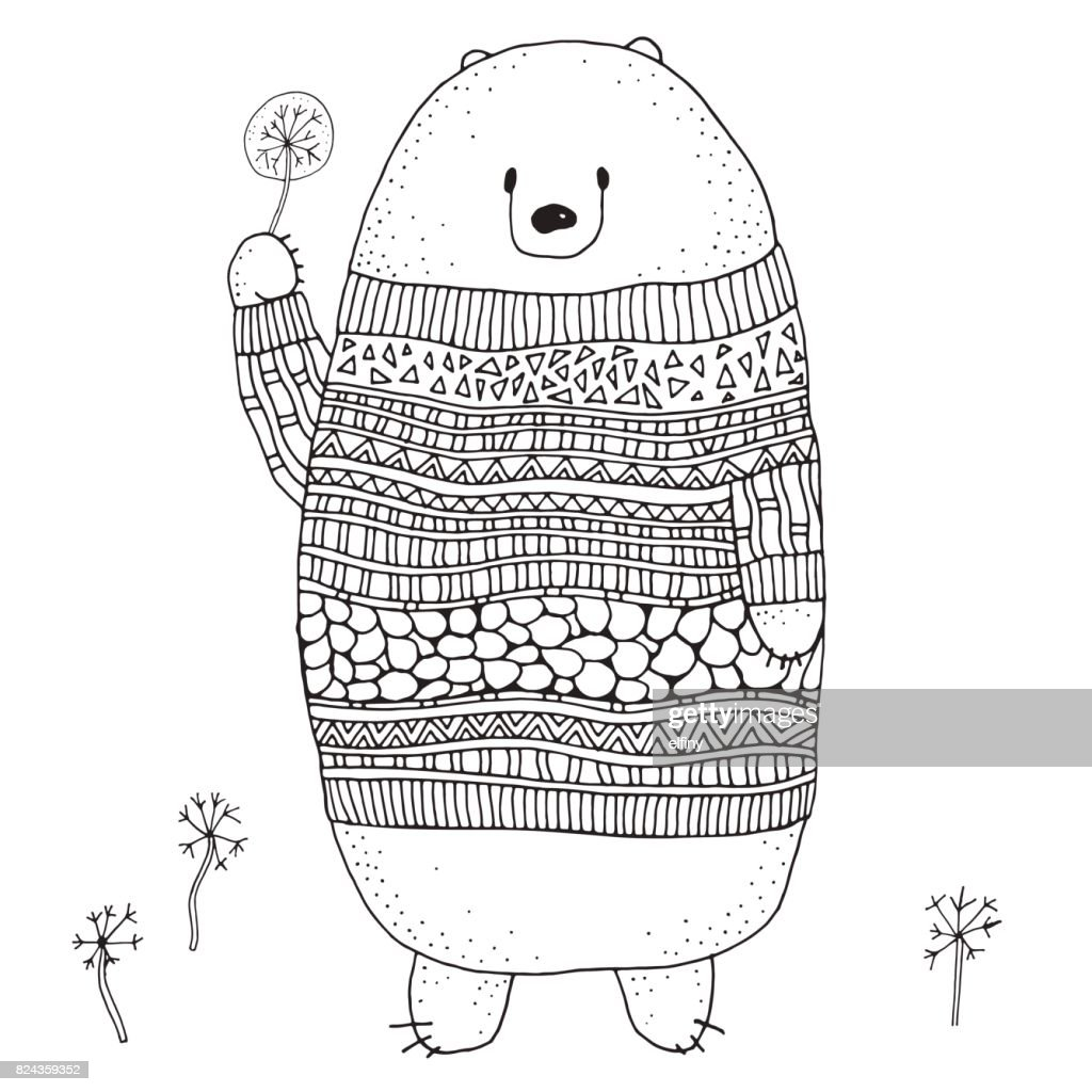 Cute Bear in a Sweater with a Dandelion. Coloring book page for adult and children. Black and white doodle vector illustration.