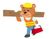 Cute Bear in Construction Worker Uniform Illustration