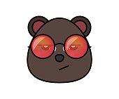 Cute bear in hipster sunglasses . Animal cartoon vector illustrtation