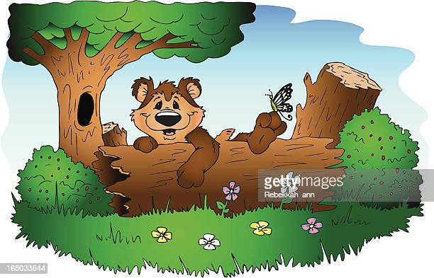 cute bear in logs - two animals stock illustrations