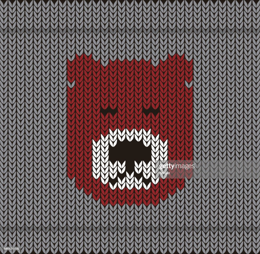 Cute Bear On The Knitting Pattern Happy New Year Vector Illustration ...