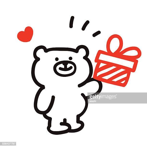 Niedliche Bär mit Geschenk