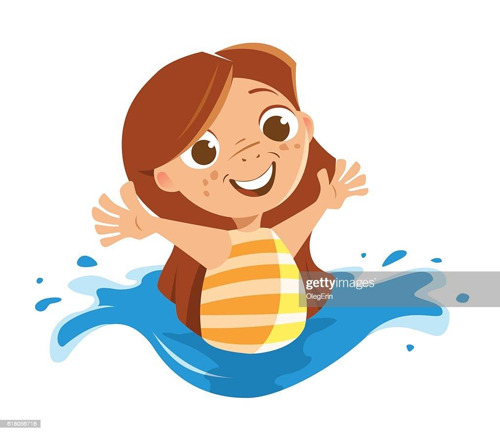 Cute beautiful little girl playing sea ocean swimming pool