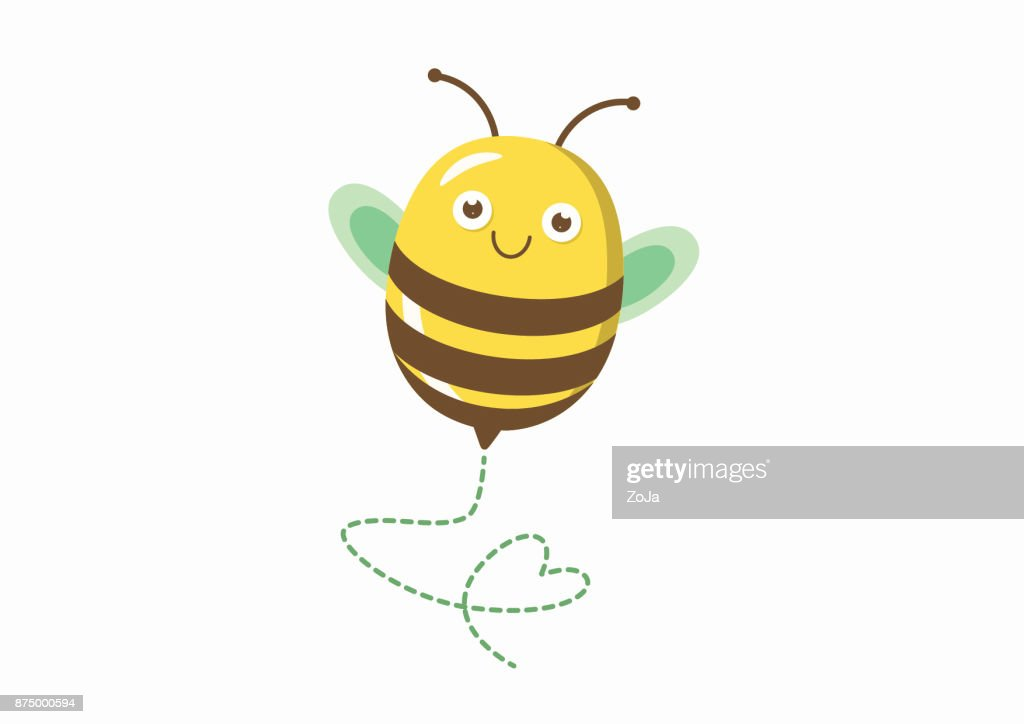 Cute bee illustration with heart shaped path