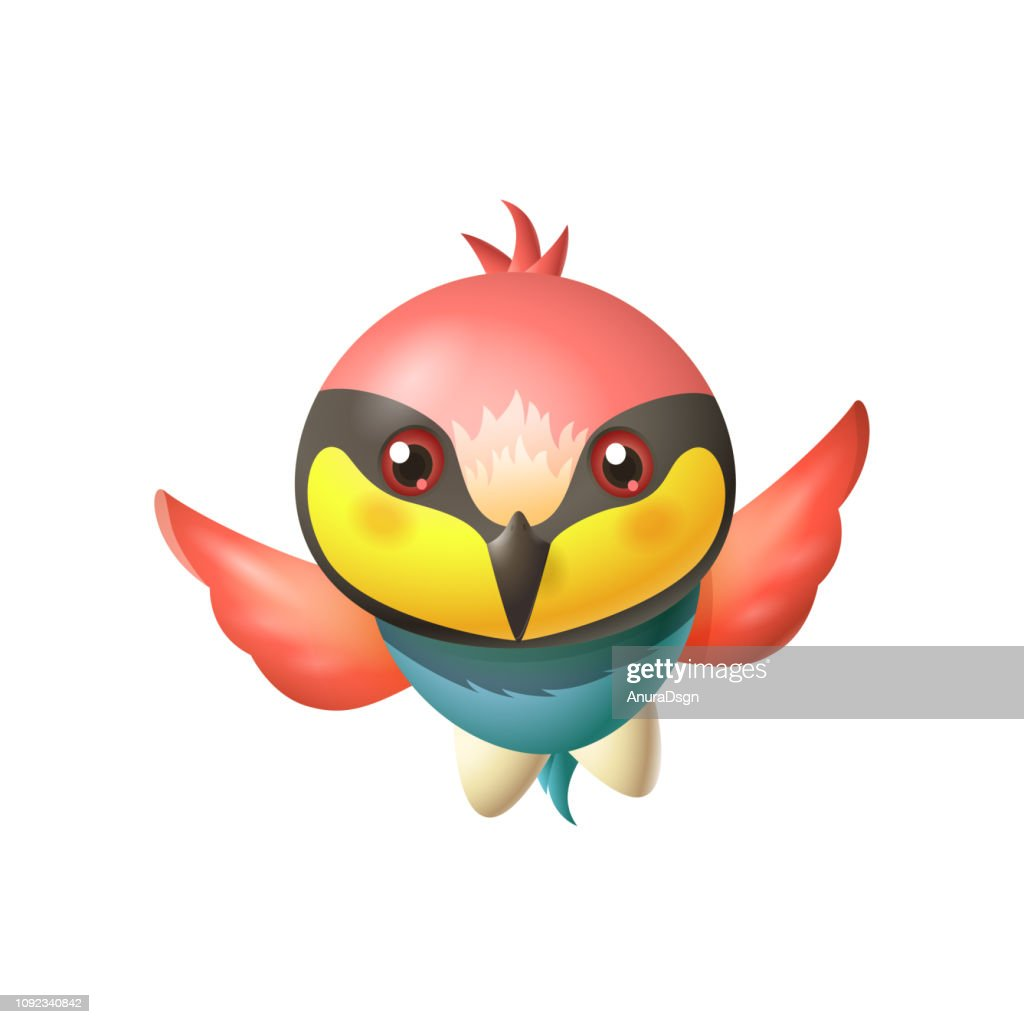 Cute bee-eater bird - brightly colored bird with large head and long sharp beak - vector cartoon illustration