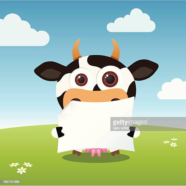cute big-eyed cow holding a blank paper - calf stock illustrations, clip art, cartoons, & icons