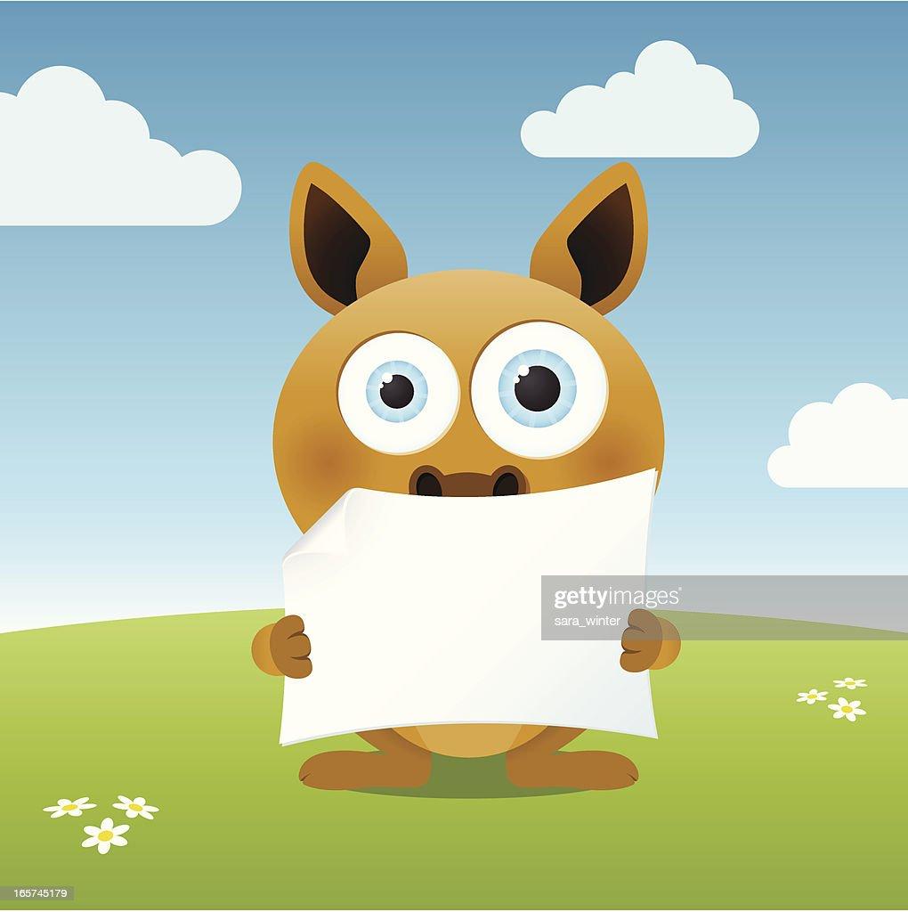 Cute big-eyed kangaroo holding a blank paper