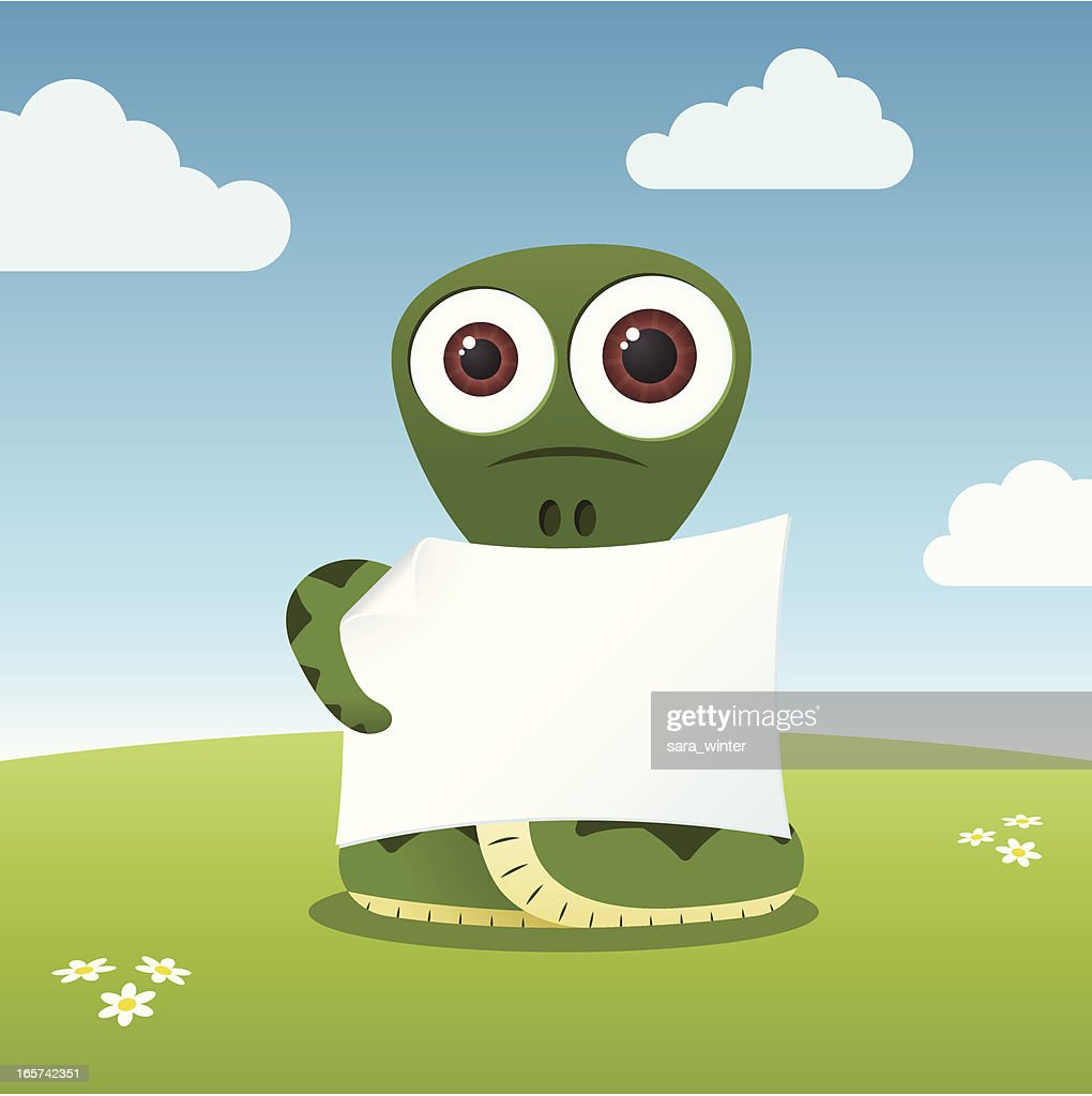 Cute big-eyed snake holding a blank paper
