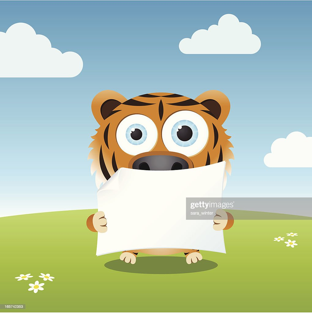 Cute big-eyed tiger holding a blank paper
