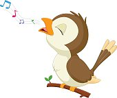 cute bird cartoon singinig