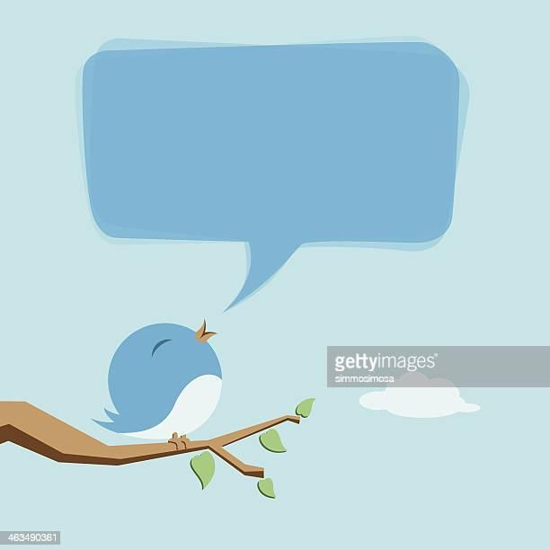 stockillustraties, clipart, cartoons en iconen met cute birdie - online messaging