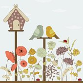 Cute birds and floral house and spring flowers