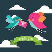cute birds flying with envelope in beak mothers day message
