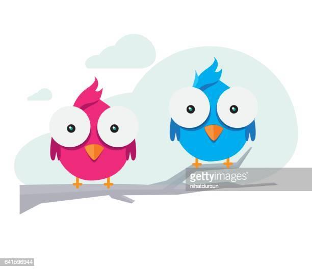 cute birds illustration - beak stock illustrations