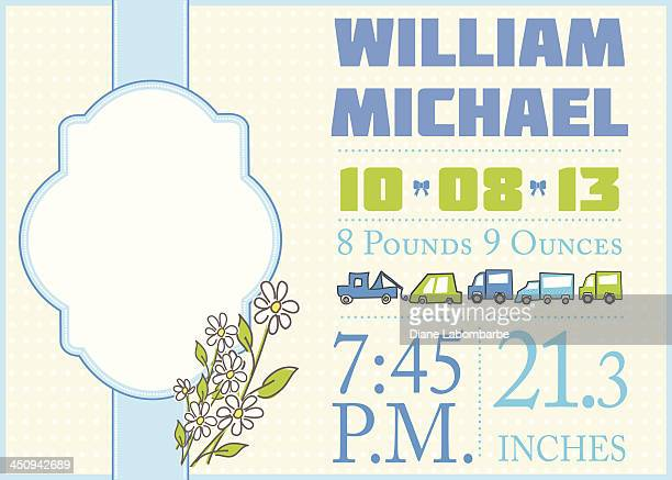 cute birth announcement template - boy - announcement message stock illustrations