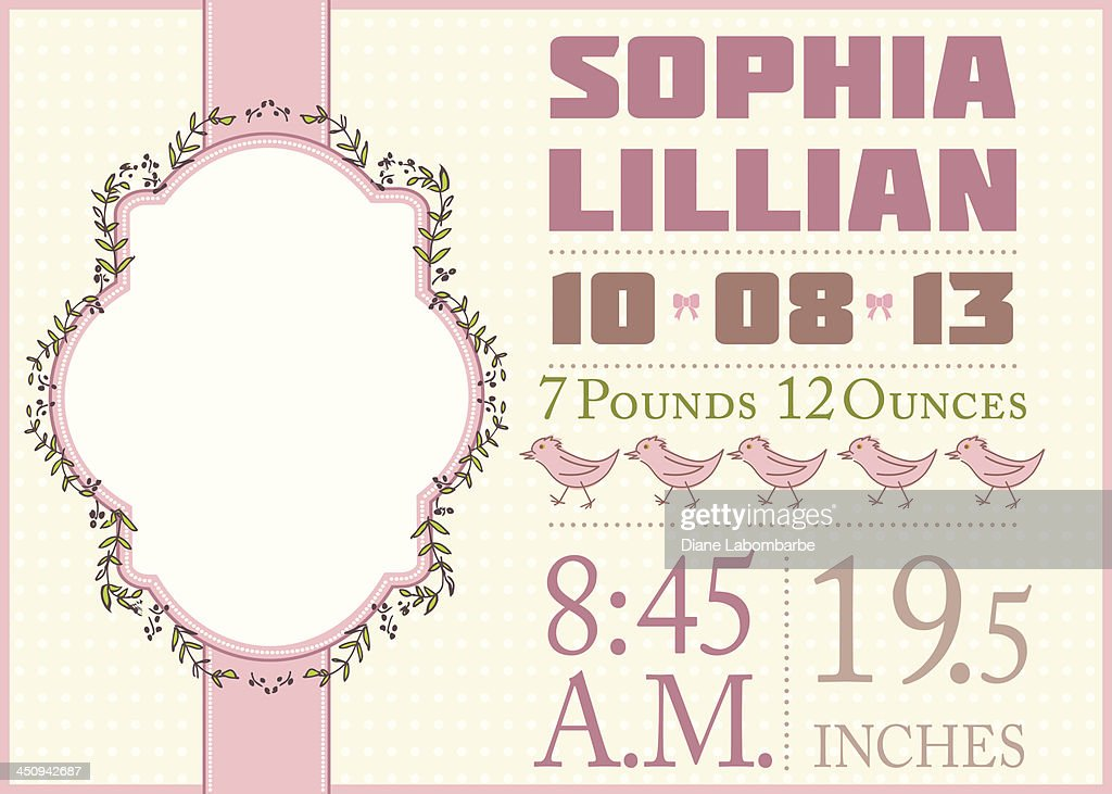 cute birth announcement template girl vector art getty images