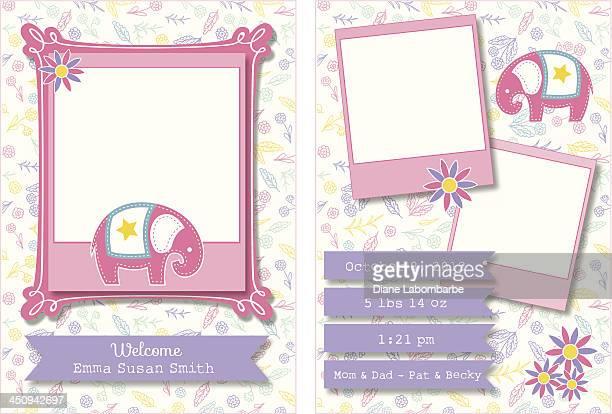 cute birth announcement template - childbirth stock illustrations