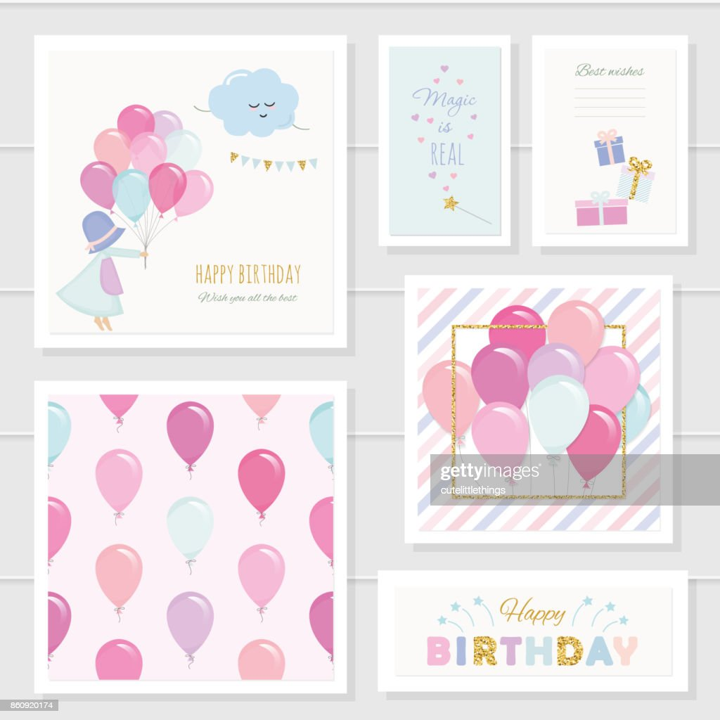 Cute birthday cards for girls with glitter elements. Included seamless pattern with colorful balloons. Watercolor.