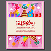 cute birthday party poster with party flag and hat