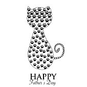 Cute black cat. Cat silhouette with paw print. Happy Father's Day greeting card