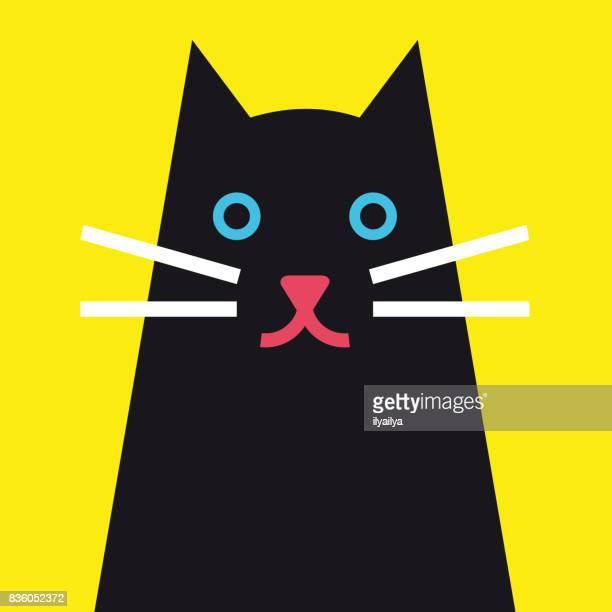 illustrations, cliparts, dessins animés et icônes de illustration vectorielle joli chat noir - chat noir
