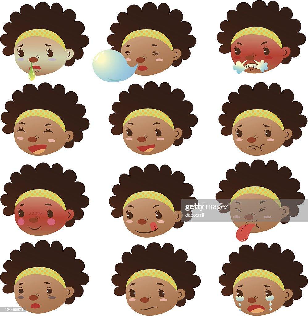 Cute black girl various facial expressions