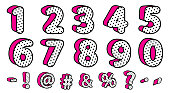 Cute black polka dots 3D set of numbers and signs. Vector LOL girly doll surprise style.